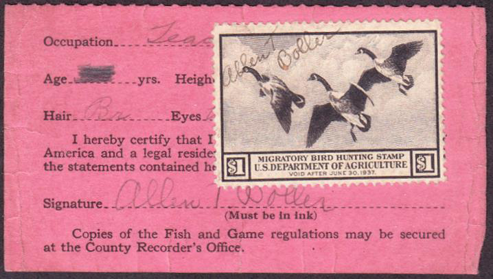 Scan of RW3 1936 Duck Stamp on Iowa License