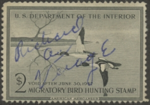 Scan of RW23 1956 Duck Stamp Used Fine