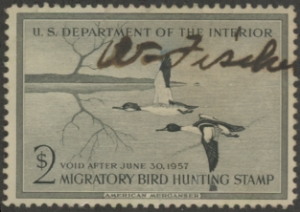 Scan of RW23 1956 Duck Stamp  Used F-VF