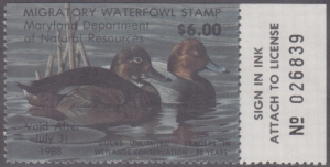 Scan of 1987 Maryland Duck Stamp