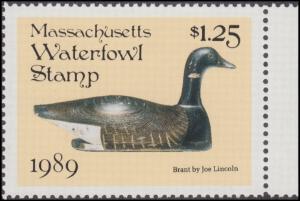 Scan of 1989 Massachusetts Duck Stamp MNH VF
