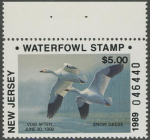 Scan of 1989 New Jersey Duck Stamp NJ12A NR MNH VF