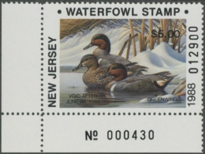 Scan of 1988 New Jersey Duck Stamp
