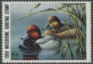 Scan of 1989 Oklahoma Duck Stamp MNH VF