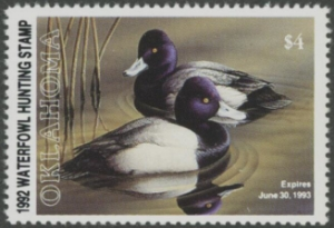 Scan of 1992 Oklahoma Duck Stamp MNH VF