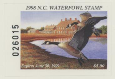 Scan of 1998 North Carolina Duck Stamp Hunter