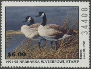 Scan of 1991 Nebraska Duck Stamp - First of State