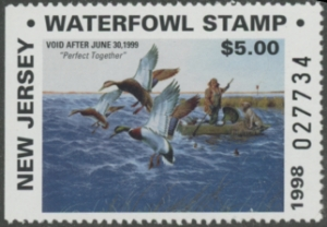 Scan of 1998 New Jersey Resident Duck Stamp Hunter Type MNH VF