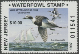 Scan of 1997 New Jersey Non-resident Duck Stamp
