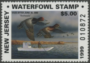 Scan of 1999 New Jersey Resident Duck Stamp MNH VF