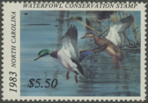 Scan of 1983 North Carolina Duck Stamp - First of State