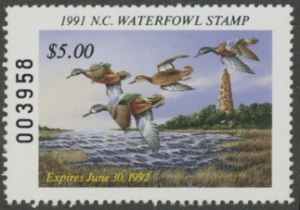 Scan of 1991 North Carolina Duck Stamp