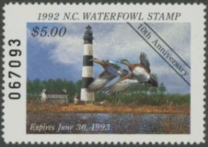 Scan of 1992 North Carolina Duck Stamp