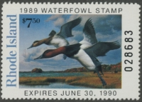 Scan of 1989 Rhode Island Duck Stamp - First of State