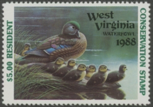 Scan of 1988 West Virginia Duck Stamp Resident  MNH VF