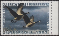 Scan of 1987 West Virginia Duck Stamp NR - First of State