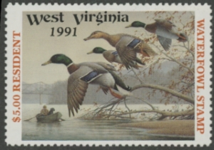 Scan of 1991 West Virginia Resident Duck Stamp