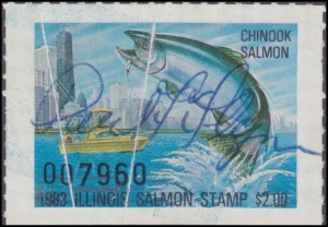 Scan of 1983 Illinois Salmon Stamp ILS8 Used Fine Faults