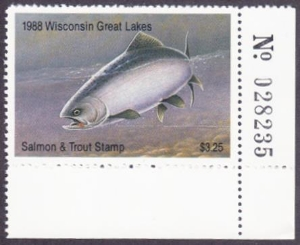 Scan of Wisconsin 1988 GL Salmon & Trout Stamp