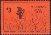 Scan of 1969 New Jersey Woodcock Stamp