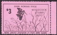 Scan of 1970 New Jersey Woodcock Stamp