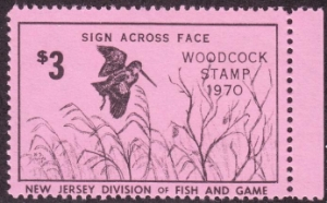 Scan of 1970 New Jersey Woodcock Stamp MNH VF