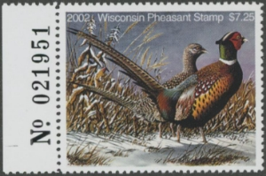 Scan of 2002 Wisconsin Pheasant Stamp