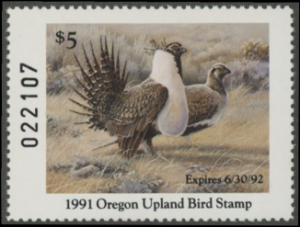 Scan of 1991 Oregon Oregon Upland Bird Stamp