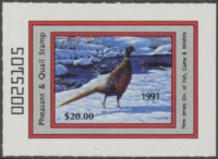 Scan of 1991 New Jersey Pheasant & Quail Stamp