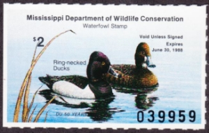 Scan of 1987 Mississippi Duck Stamp Mint