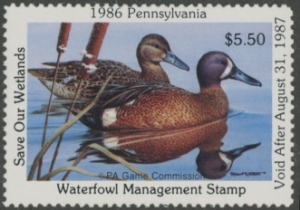 Scan of 1986 Pennsylvania Duck Stamp