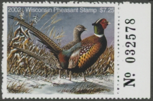 Scan of 2002 Wisconsin Pheasant Stamp MNH VF