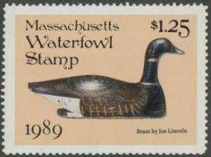 Scan of 1989 Massachusetts Duck Stamp