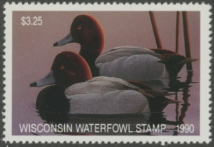 Scan of 1990 Wisconsin Duck Stamp  MNH VF