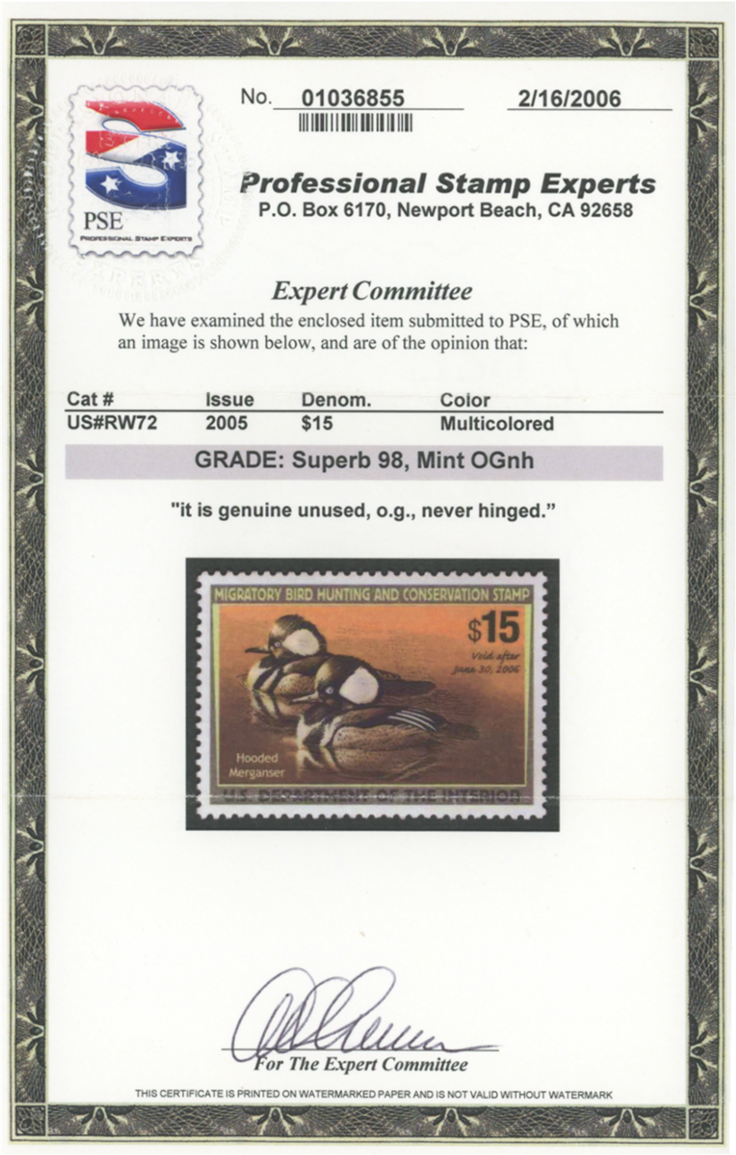 Scan of RW72 2005 Duck Stamp Grade 98