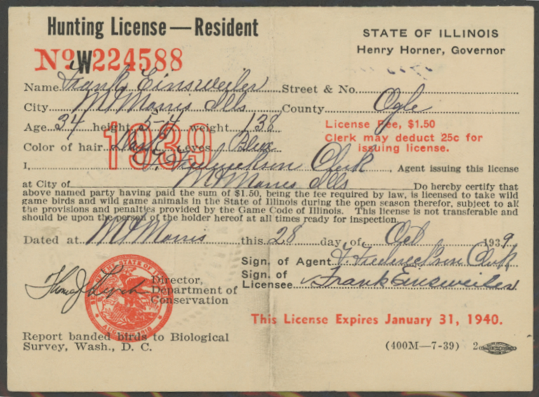 Scan of RW6 1939 Duck Stamp on Illinois License