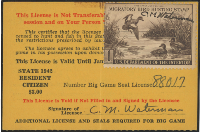 Scan of RW9 1942 Duck Stamp On Washington License