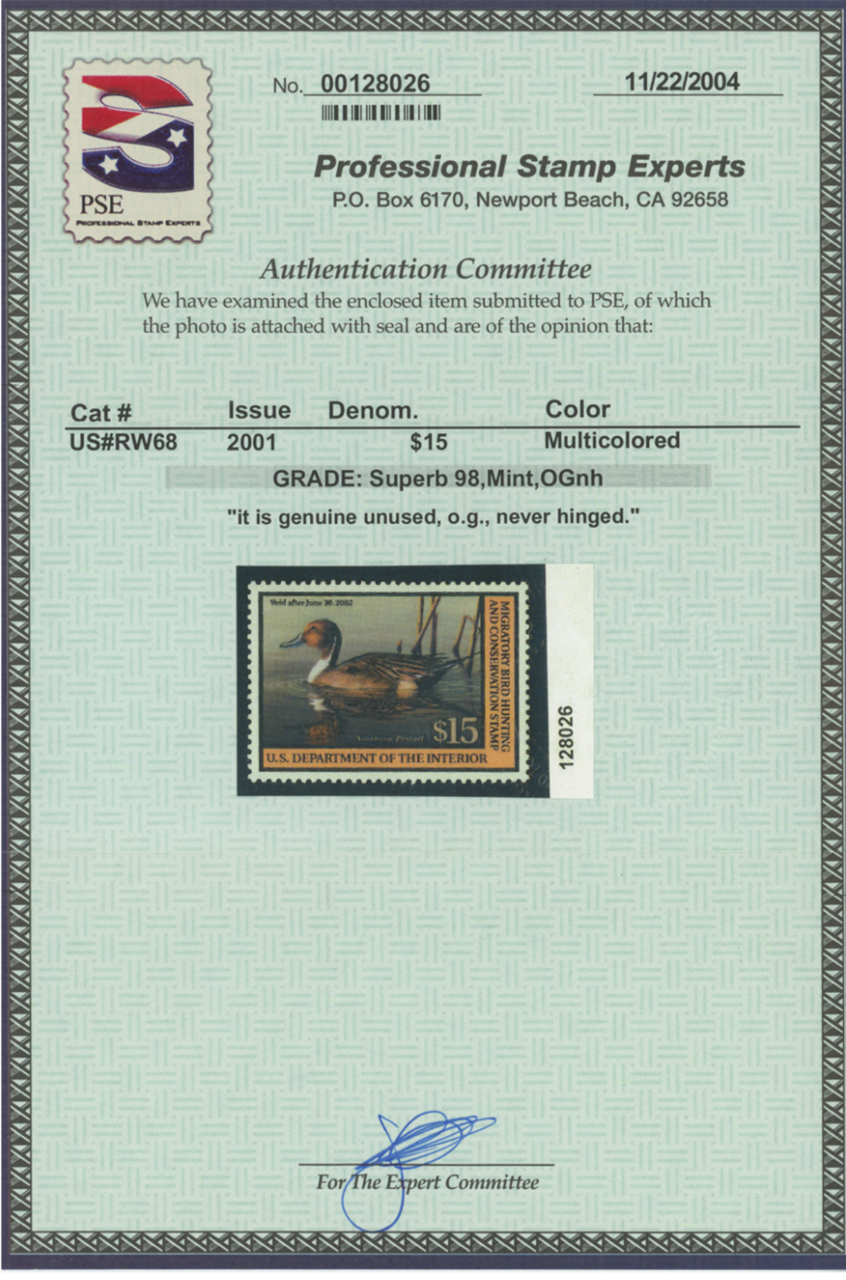 Scan of RW68 2001 Duck Stamp Grade Sup