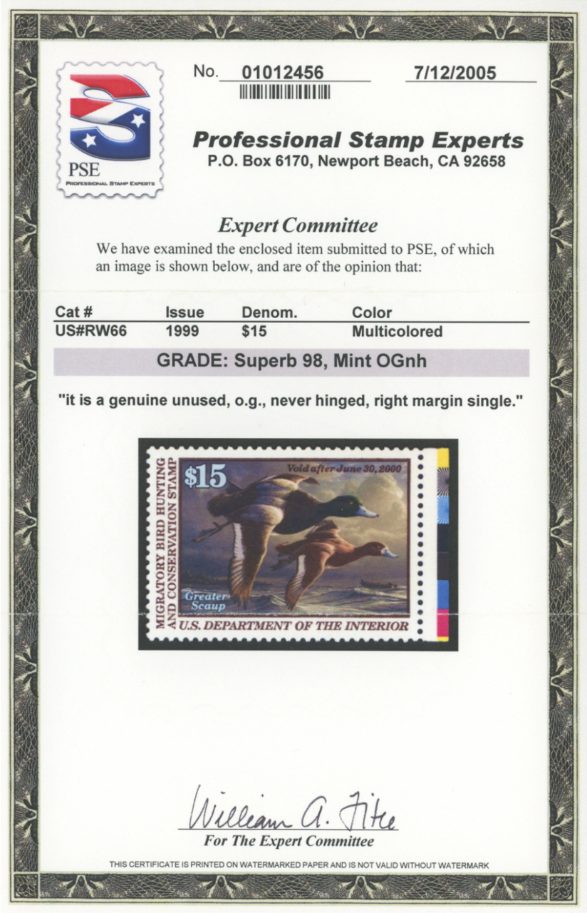 Scan of RW66 1999 Duck Stamp Grade 98