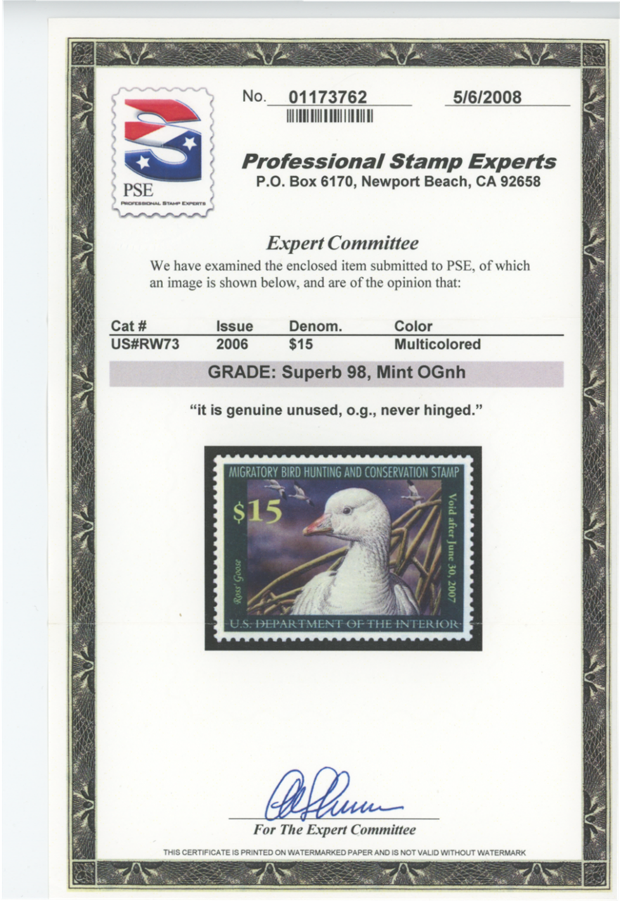 Scan of RW73 2006 Duck Stamp Grade 98
