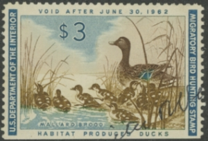 Scan of RW28 1961 Duck Stamp  Used VF