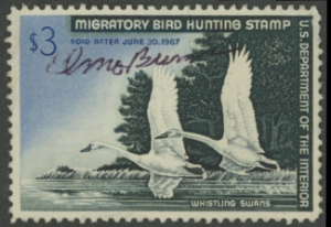 Scan of RW33 1966 Duck Stamp  Used F - VF